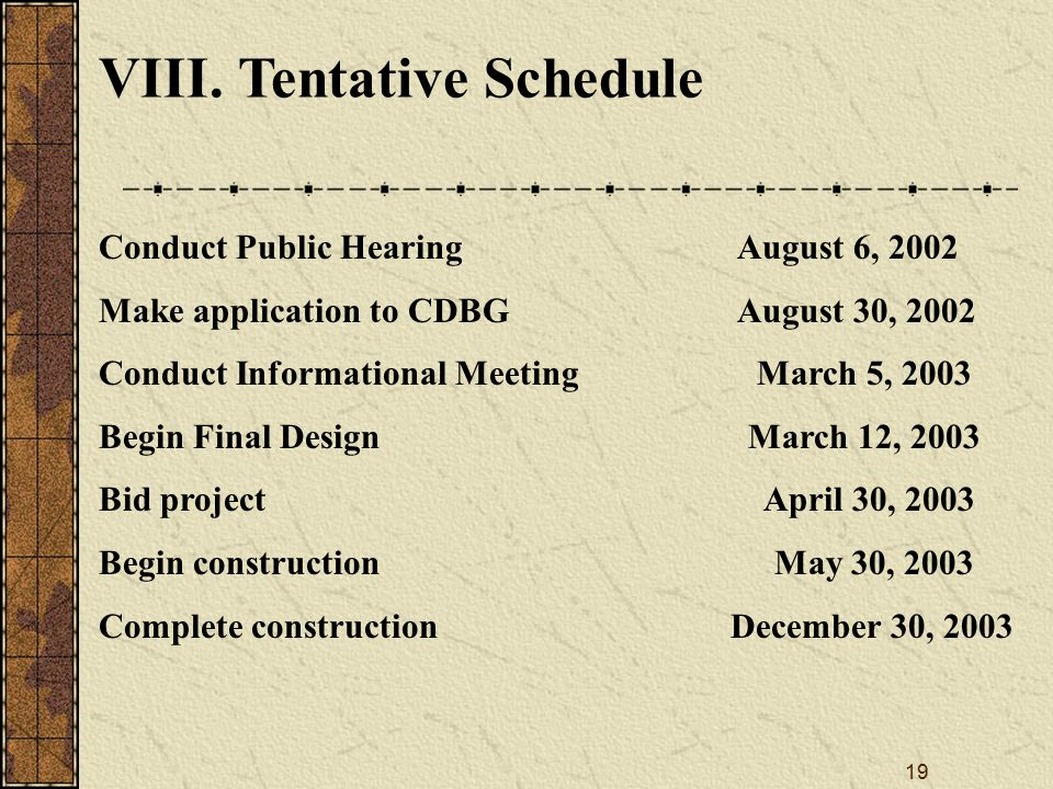 19 VIII. Tentative Schedule Conduct Public Hearing August 6, 2002 Make application to CDBG August 30, 2002 Conduct Informational Meeting March 5, 2003