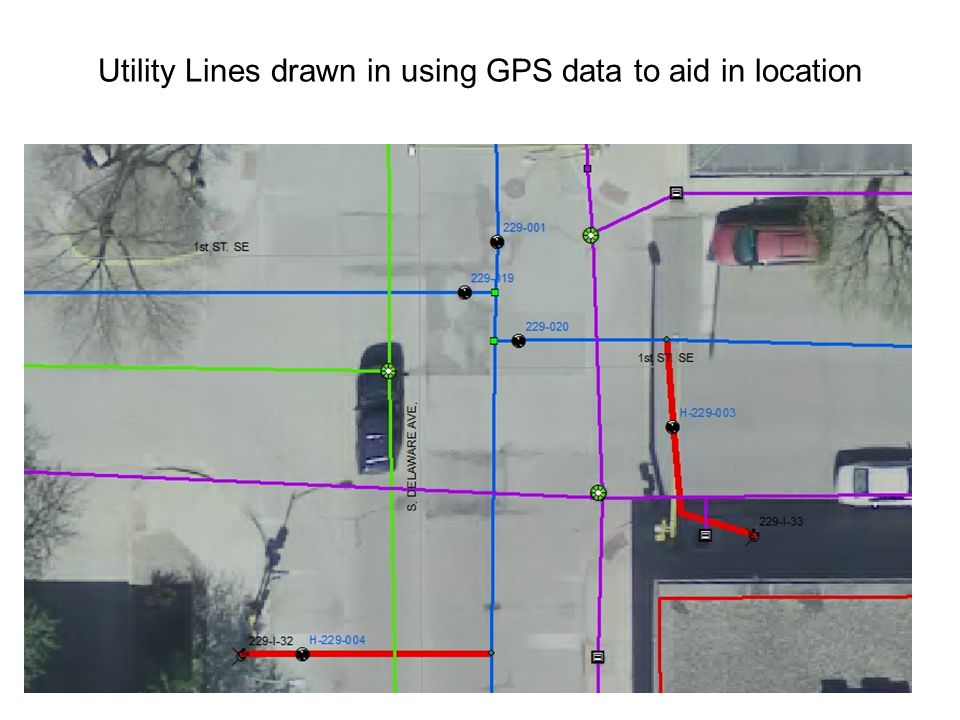 Utility Lines drawn in using GPS data to aid in location