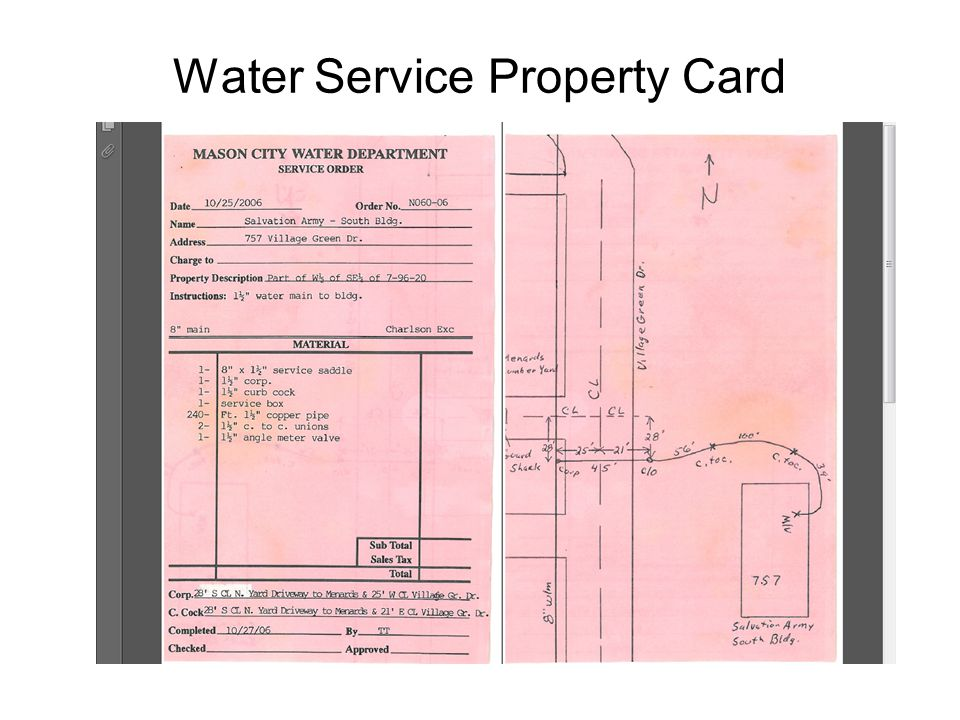 Water Service Property Card