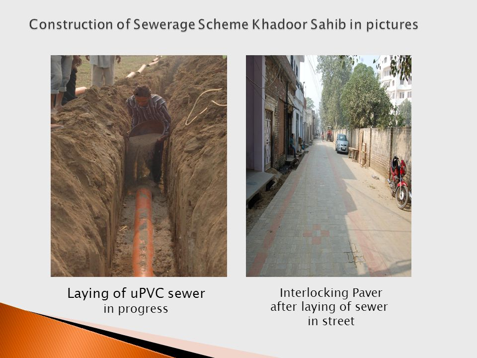 Laying of uPVC sewer in progress Interlocking Paver after laying of sewer in street