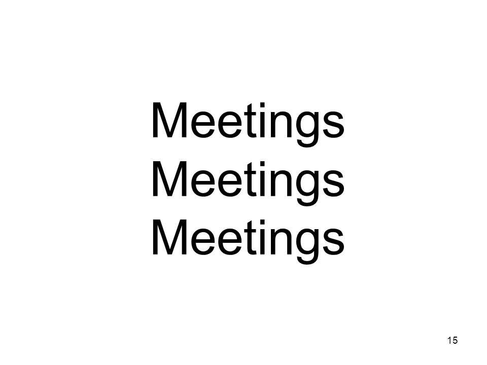 15 Meetings Meetings Meetings