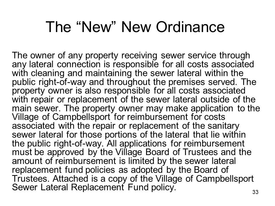 34 Resolution 531 Creating a Sewer Lateral Replacement Fund BE IT HEREBY RESOLVED, that effective on adoption of this Resolution, the Village Board of Trustees of the Village of Campbellsport has established a separate restricted account that shall be know as the Sewer Lateral Replacement Fund.