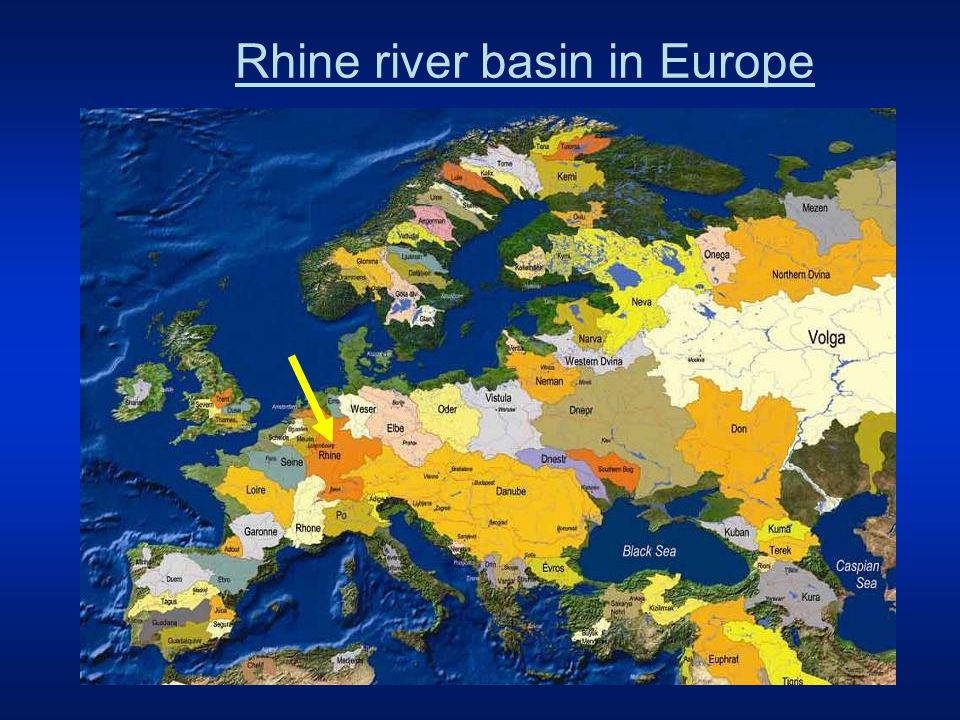 Rhine river basin in Europe