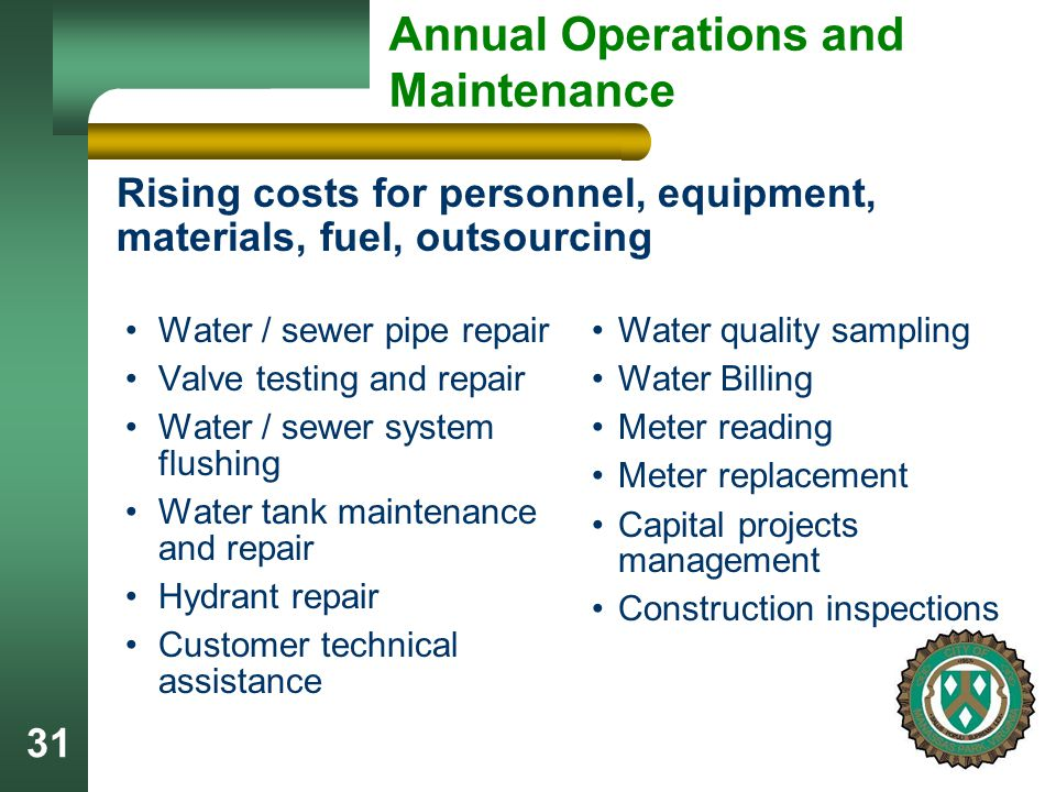 31 Annual Operations and Maintenance Water / sewer pipe repair Valve testing and repair Water / sewer system flushing Water tank maintenance and repair Hydrant repair Customer technical assistance Rising costs for personnel, equipment, materials, fuel, outsourcing Water quality sampling Water Billing Meter reading Meter replacement Capital projects management Construction inspections