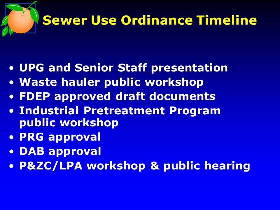 Sewer Use Ordinance Timeline UPG and Senior Staff presentation Waste hauler public workshop FDEP approved draft documents Industrial Pretreatment Program public workshop PRG approval DAB approval P&ZC/LPA workshop & public hearing