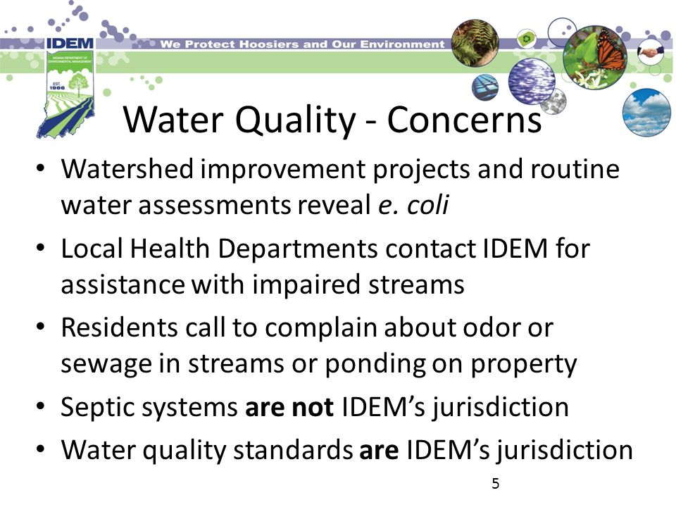 Water Quality - Concerns Watershed improvement projects and routine water assessments reveal e.