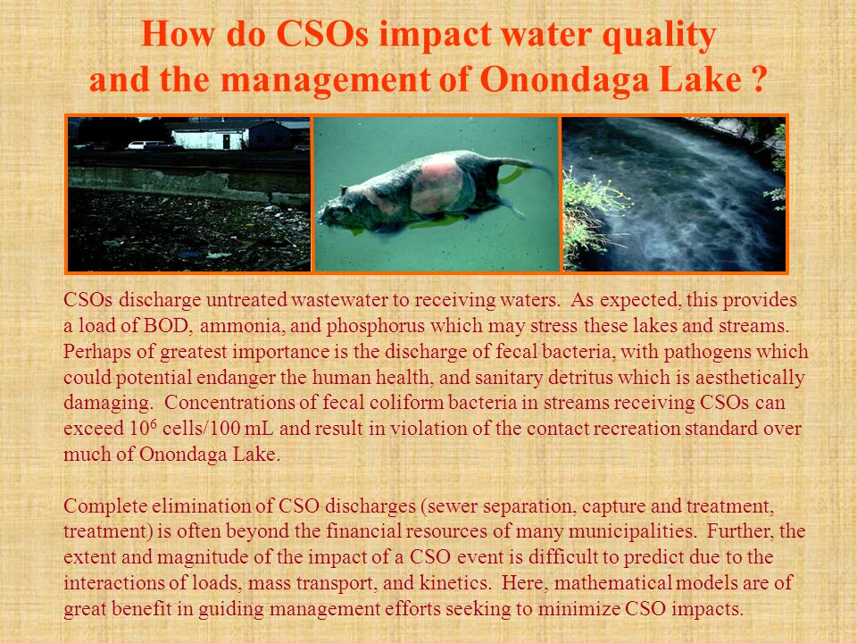 How do CSOs impact water quality and the management of Onondaga Lake .
