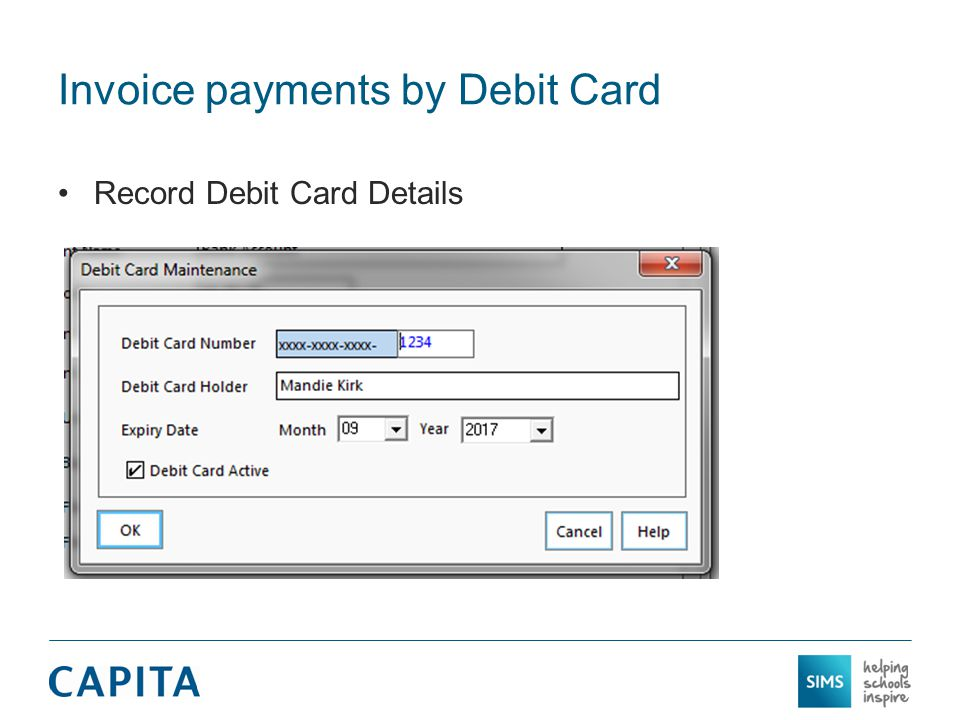 Invoice payments by Debit Card Record Debit Card Details