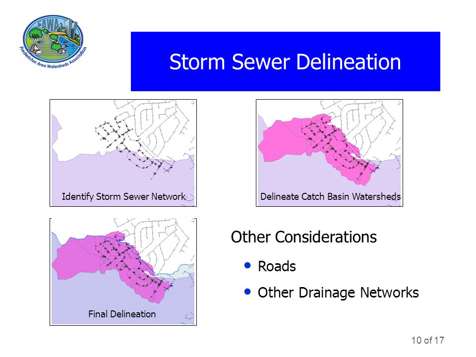 10 of 17 Storm Sewer Delineation Other Considerations Roads Other Drainage Networks Delineate Catch Basin WatershedsIdentify Storm Sewer Network Final Delineation