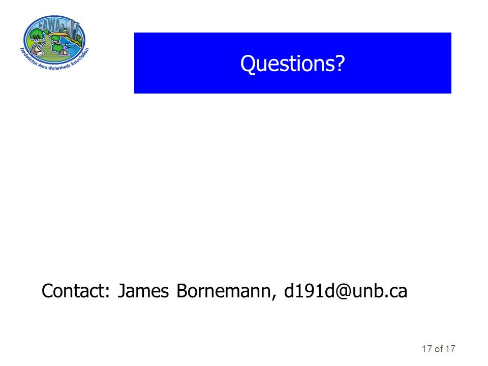 17 of 17 Questions Contact: James Bornemann, d191d@unb.ca