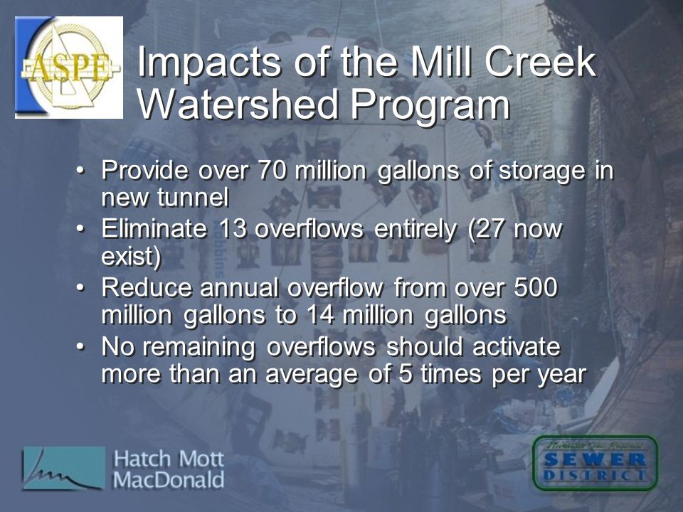 Impacts of the Mill Creek Watershed Program Provide over 70 million gallons of storage in new tunnel Eliminate 13 overflows entirely (27 now exist) Re