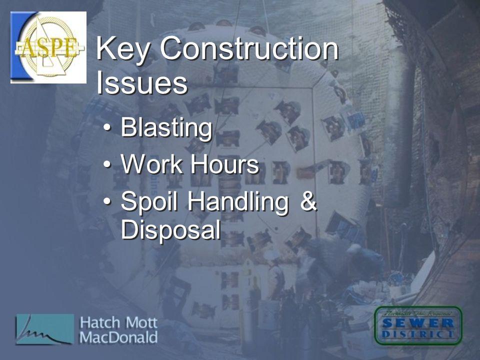 Blasting Work Hours Spoil Handling & Disposal Blasting Work Hours Spoil Handling & Disposal Key Construction Issues