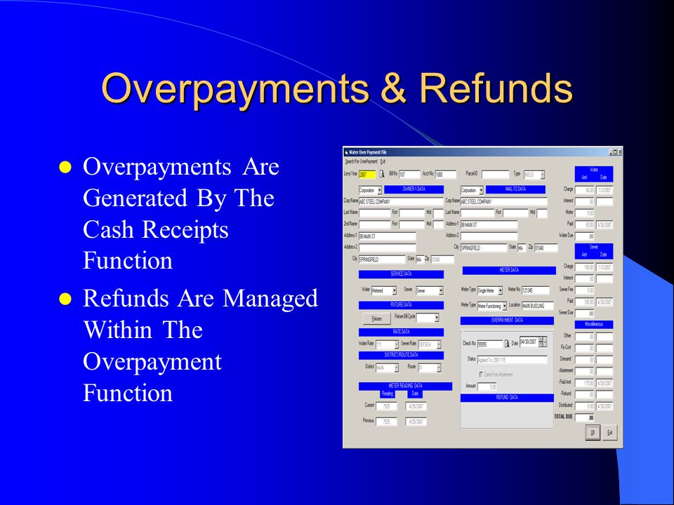 Overpayments Are Generated By The Cash Receipts Function Refunds Are Managed Within The Overpayment Function