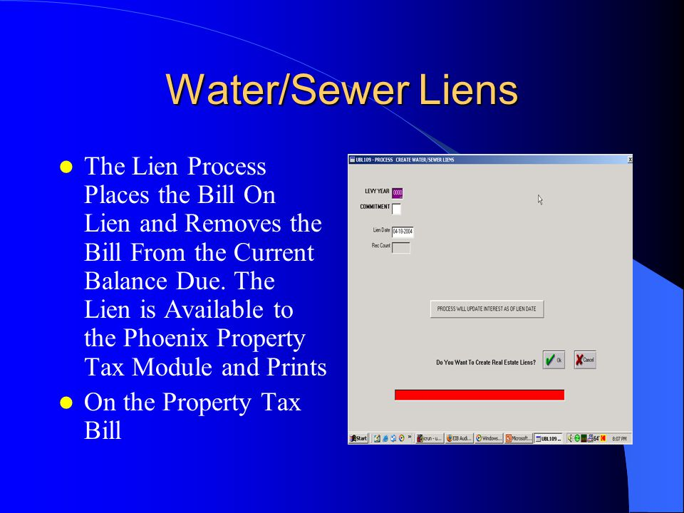 The Lien Process Places the Bill On Lien and Removes the Bill From the Current Balance Due.
