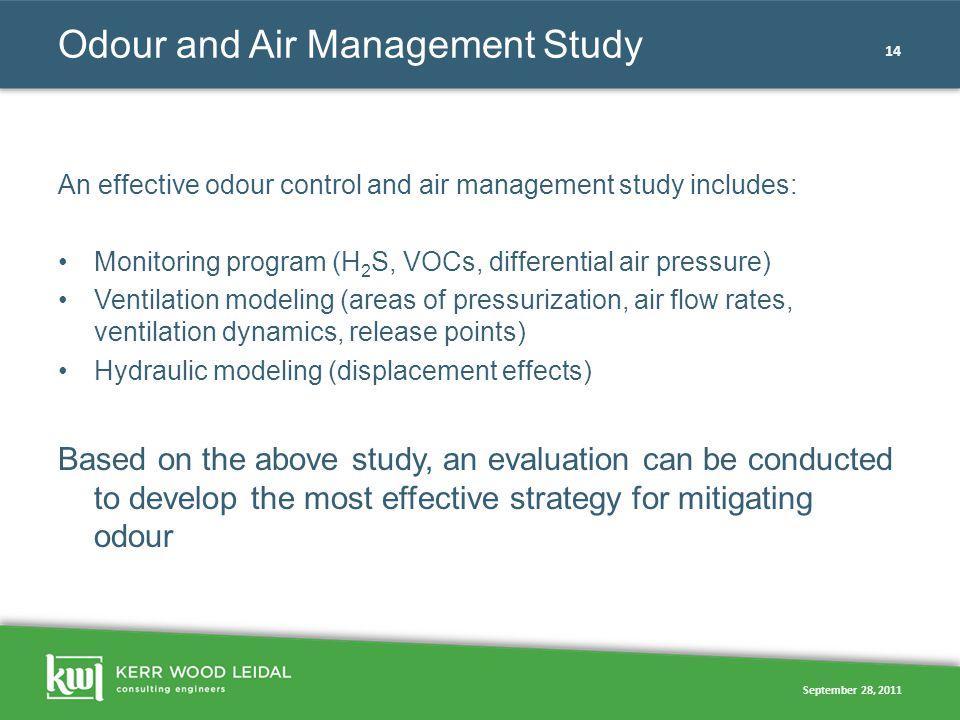 September 28, 2011 14 Odour and Air Management Study An effective odour control and air management study includes: Monitoring program (H 2 S, VOCs, di
