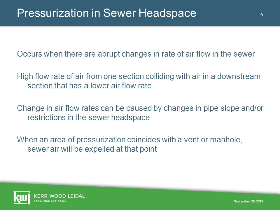 September 28, 2011 9 Pressurization in Sewer Headspace Occurs when there are abrupt changes in rate of air flow in the sewer High flow rate of air fro