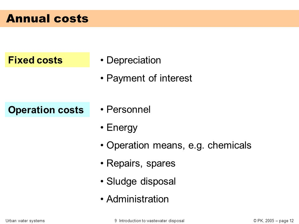 Urban water systems9 Introduction to wastewater disposal© PK, 2005 – page 12 Annual costs Fixed costs Operation costs Depreciation Payment of interest Personnel Energy Operation means, e.g.