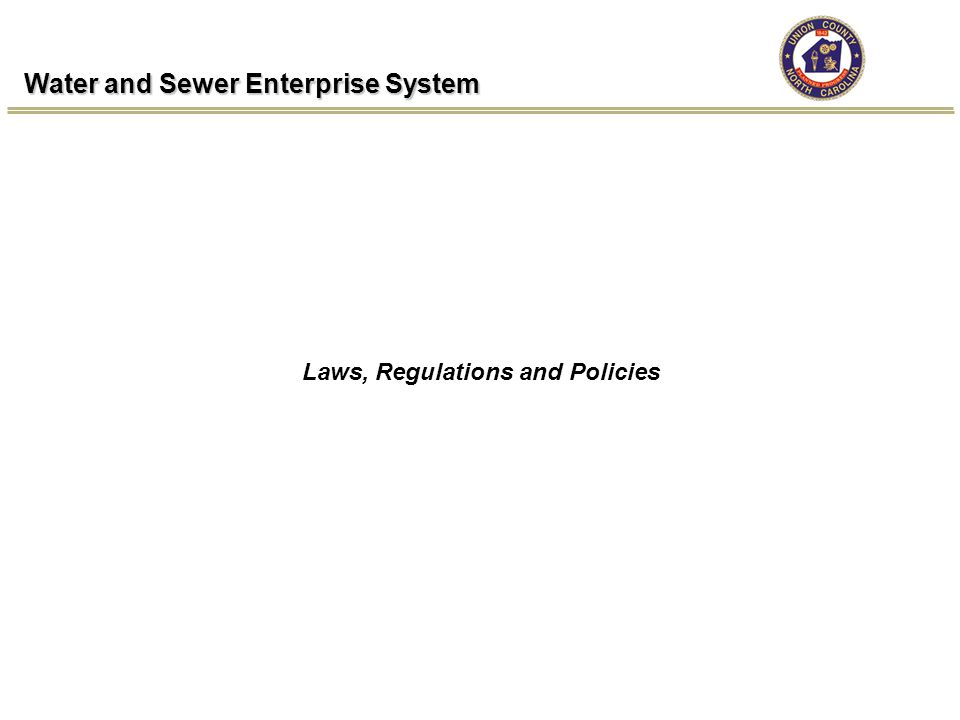 Water and Sewer Enterprise System Laws, Regulations and Policies