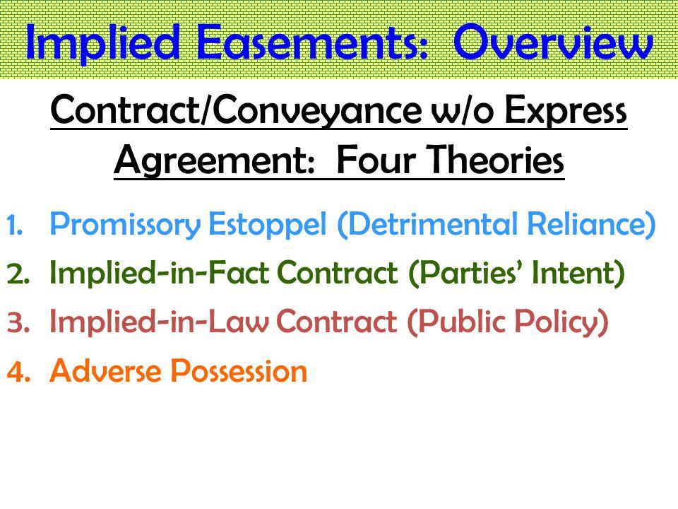 Implied Easements: Overview 4 Theories  4 Types of Implied Easement 1.Promissory Estoppel (Detrimental Reliance) ≈ Easement-by Estoppel 2.Implied-in-Fact Contract (Parties' Intent) ≈ Easement-by-Implication 3.Implied-in-Law Contract (Public Policy) ≈ Easement-by-Necessity 4.Adverse Possession ≈ Easement-by-Prescription
