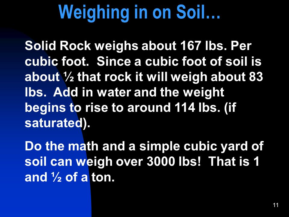 11 Solid Rock weighs about 167 lbs. Per cubic foot. Since a cubic foot of soil is about ½ that rock it will weigh about 83 lbs. Add in water and the w