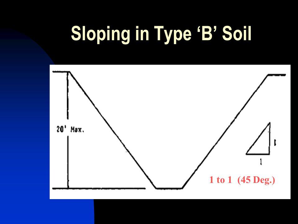 1 to 1 (45 Deg.) Sloping in Type 'B' Soil 1 to 1 (45 Deg.)