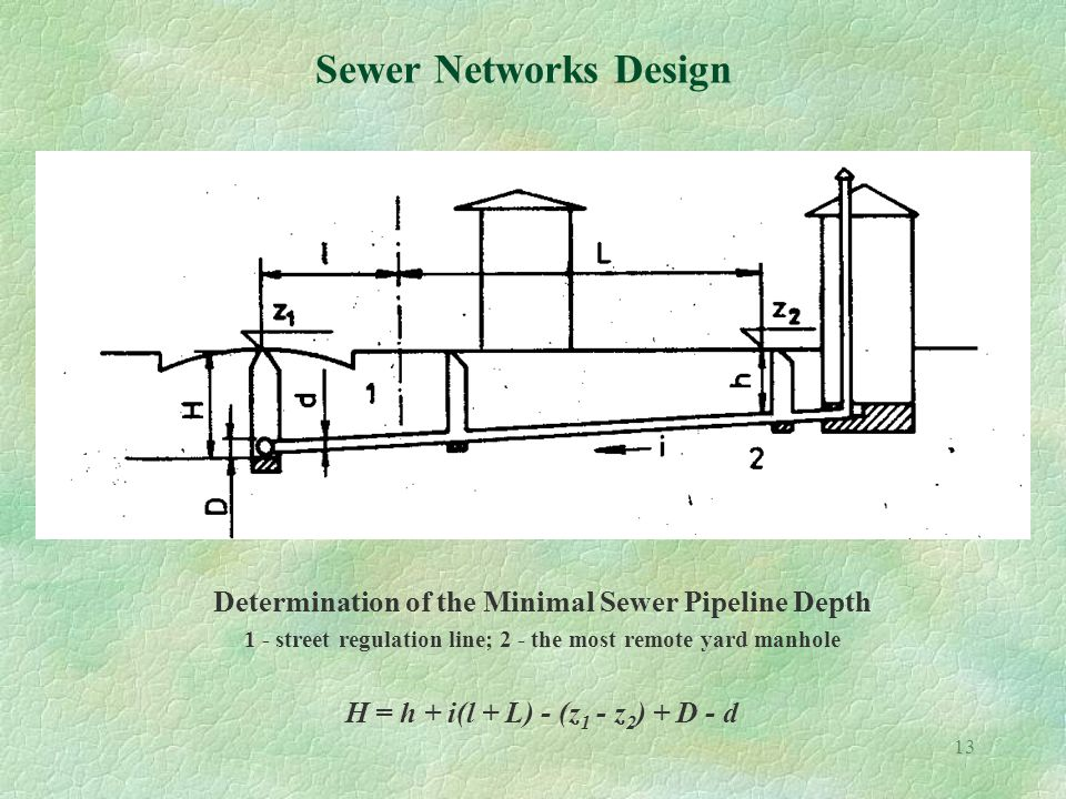 13 Sewer Networks Design Determination of the Minimal Sewer Pipeline Depth 1 - street regulation line; 2 - the most remote yard manhole H = h + i(l + L) - (z 1 - z 2 ) + D - d