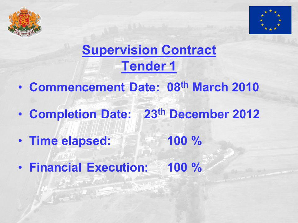 Supervision Contract Tender 1 Commencement Date:08 th March 2010 Completion Date: 23 th December 2012 Time elapsed:100 % Financial Execution:100 %