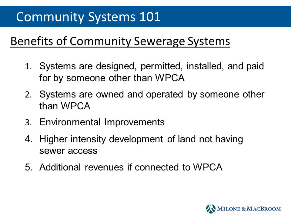 Benefits of Community Sewerage Systems 1.1.