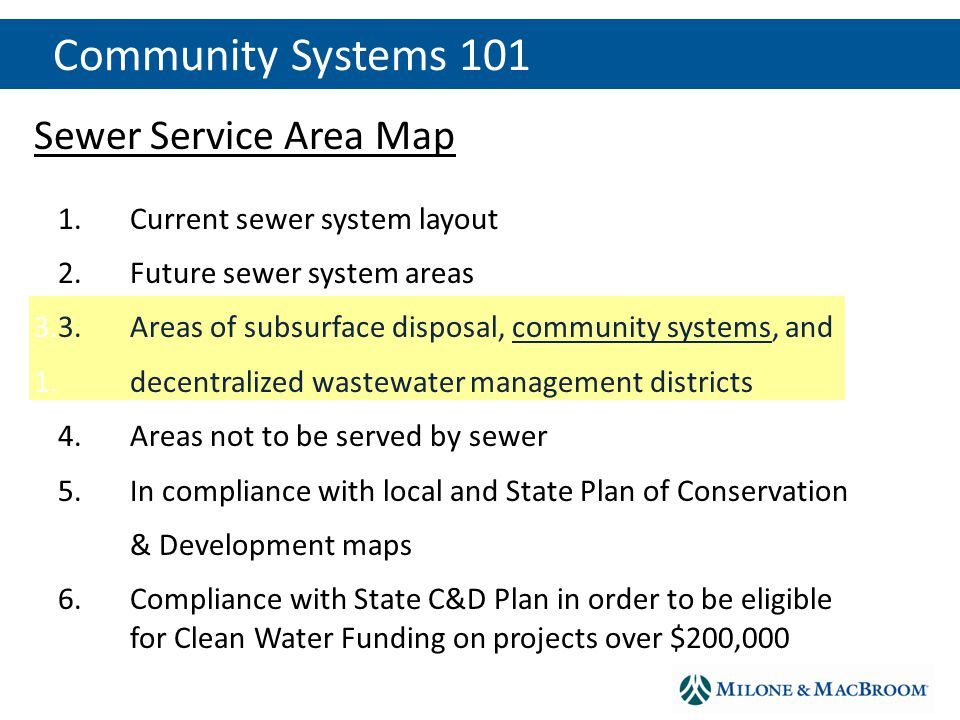 Sewer Service Area Map 1.1.Current sewer system layout 2.2.Future sewer system areas 3.3.Areas of subsurface disposal, community systems, and 1.