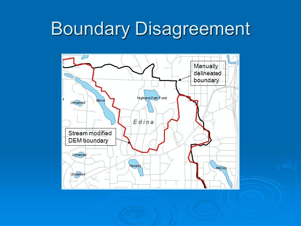 Boundary Disagreement Stream modified DEM boundary Manually delineated boundary