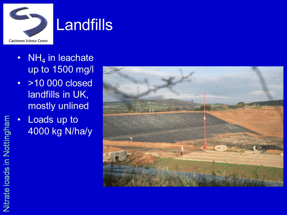 Landfills NH 4 in leachate up to 1500 mg/l >10 000 closed landfills in UK, mostly unlined Loads up to 4000 kg N/ha/y Nitrate loads in Nottingham
