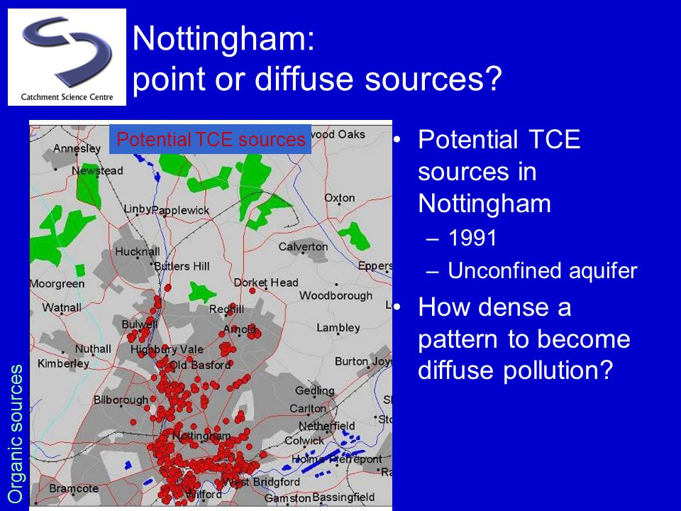 Nottingham: point or diffuse sources? Potential TCE sources in Nottingham –1991 –Unconfined aquifer How dense a pattern to become diffuse pollution? P