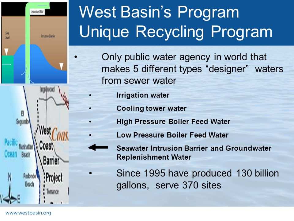 Only public water agency in world that makes 5 different types designer waters from sewer water Irrigation water Cooling tower water High Pressure Boiler Feed Water Low Pressure Boiler Feed Water Seawater Intrusion Barrier and Groundwater Replenishment Water Since 1995 have produced 130 billion gallons, serve 370 sites West Basin's Program Unique Recycling Program