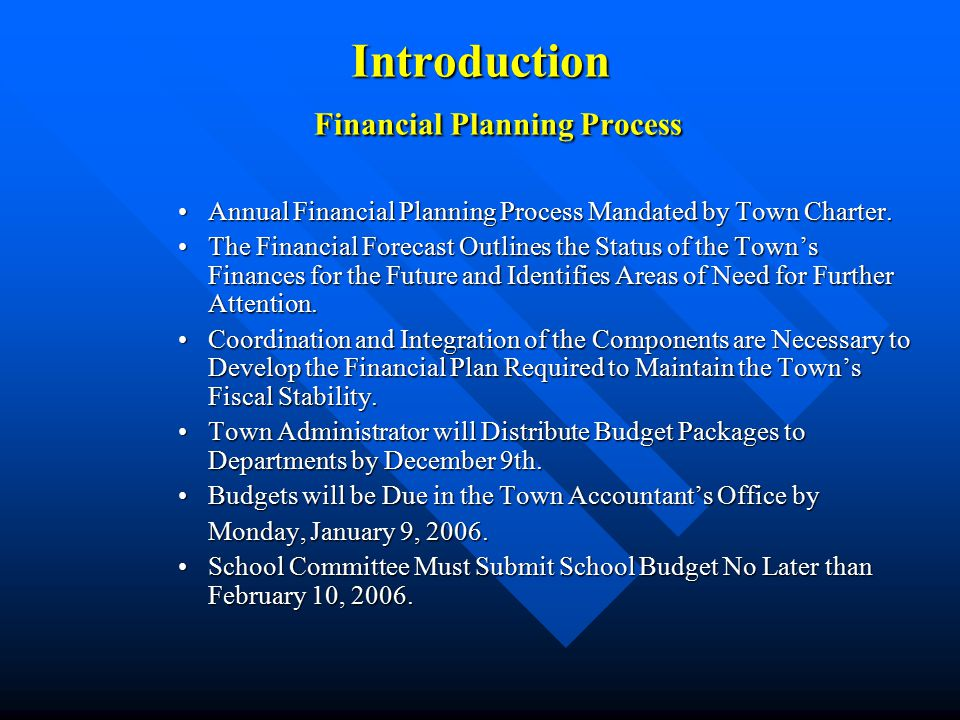 Introduction Financial Planning Process Annual Financial Planning Process Mandated by Town Charter.Annual Financial Planning Process Mandated by Town Charter.