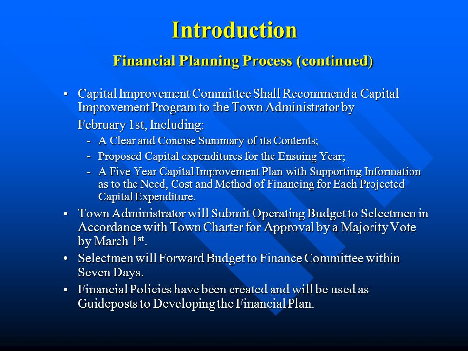 Introduction Goals and Priority Areas for FY07 »Present a Balanced Budget to the Board of Selectmen and the Finance Committee.