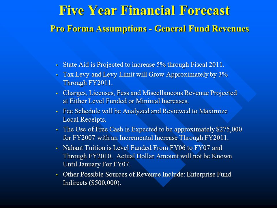 Five Year Financial Forecast Pro Forma Assumptions - General Fund Revenues State Aid is Projected to increase 5% through Fiscal 2011.