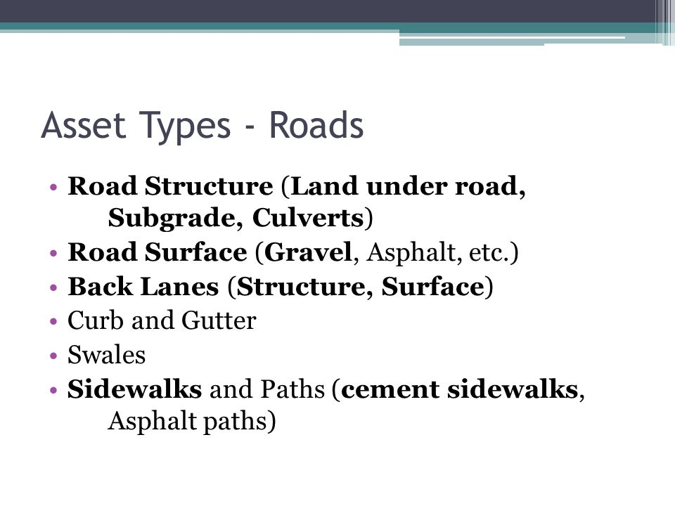 Asset Types - Roads Road Structure (Land under road, Subgrade, Culverts) Road Surface (Gravel, Asphalt, etc.) Back Lanes (Structure, Surface) Curb and Gutter Swales Sidewalks and Paths (cement sidewalks, Asphalt paths)