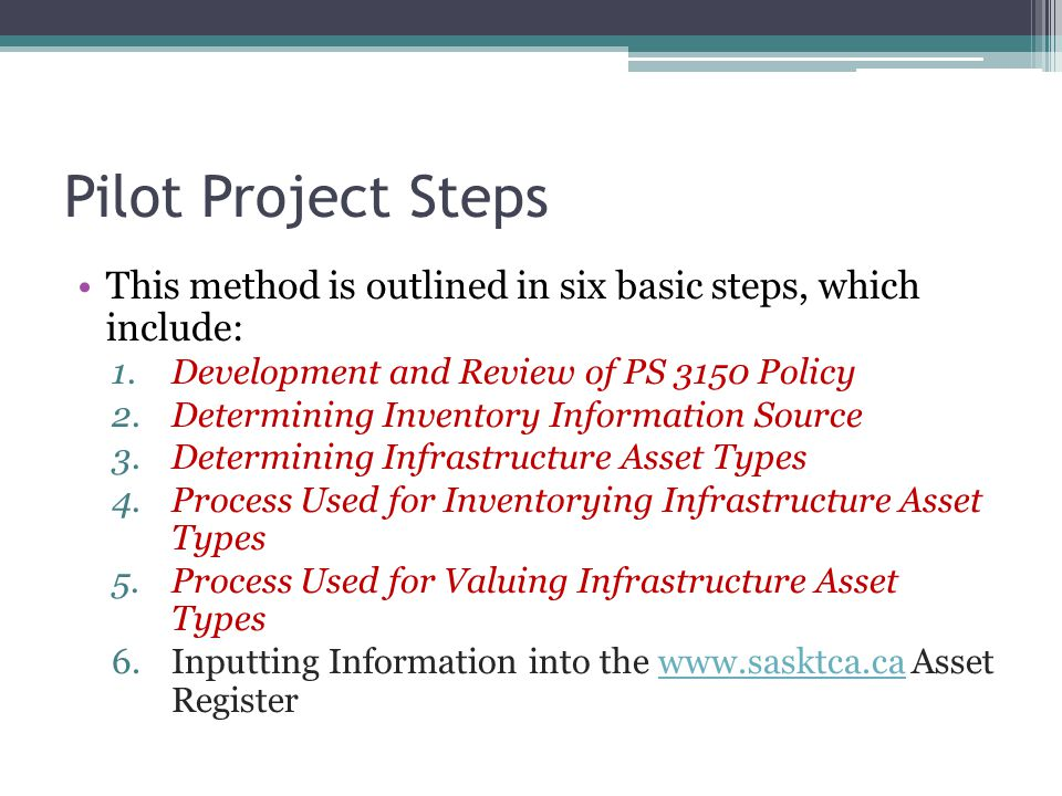 Pilot Project Steps This method is outlined in six basic steps, which include: 1.Development and Review of PS 3150 Policy 2.Determining Inventory Info