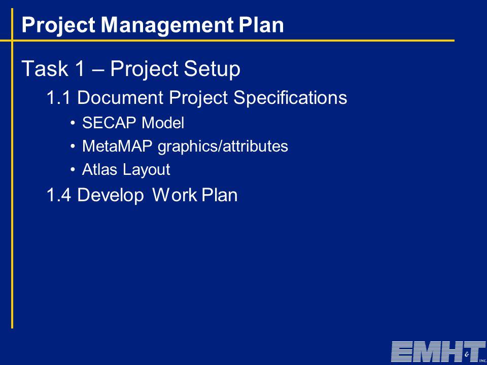Project Management Plan Task 1 – Project Setup 1.1 Document Project Specifications SECAP Model MetaMAP graphics/attributes Atlas Layout 1.4 Develop Wo