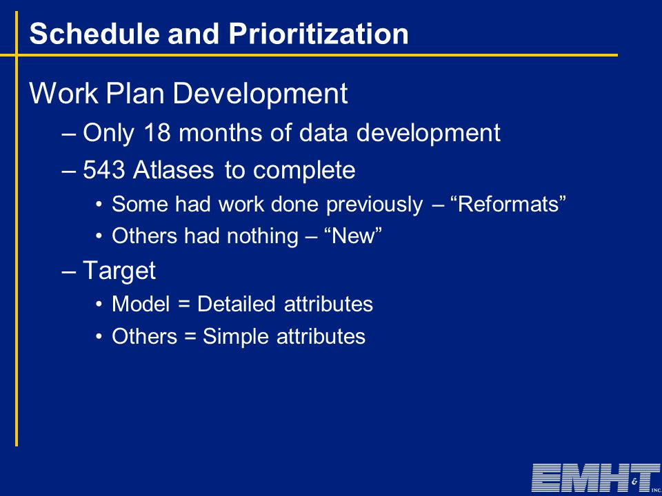 """Schedule and Prioritization Work Plan Development –Only 18 months of data development –543 Atlases to complete Some had work done previously – """"Reform"""