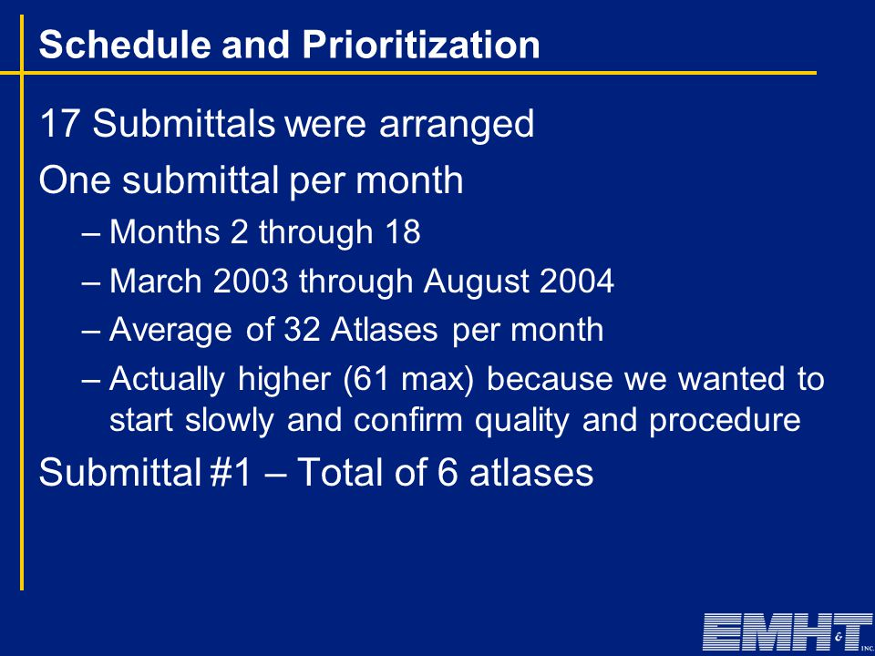 Schedule and Prioritization 17 Submittals were arranged One submittal per month –Months 2 through 18 –March 2003 through August 2004 –Average of 32 At