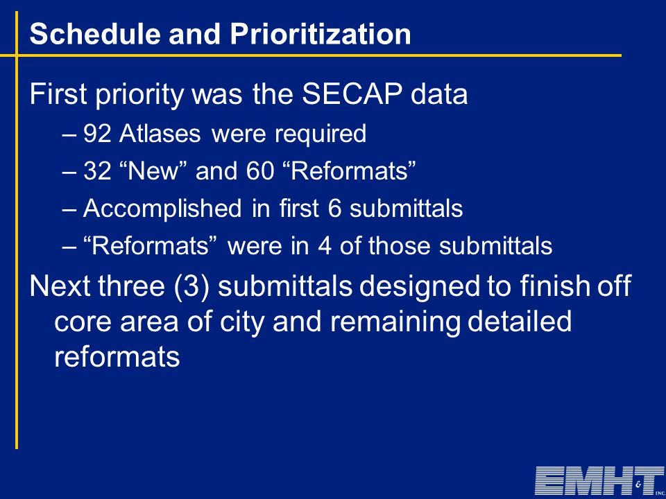 """Schedule and Prioritization First priority was the SECAP data –92 Atlases were required –32 """"New"""" and 60 """"Reformats"""" –Accomplished in first 6 submitta"""