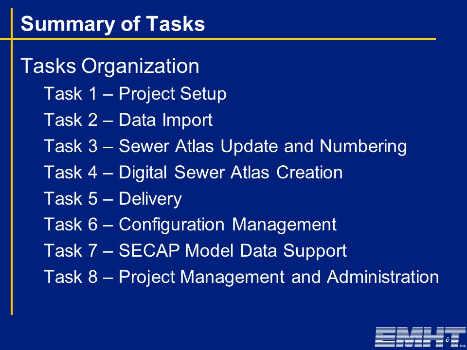 Summary of Tasks Tasks Organization Task 1 – Project Setup Task 2 – Data Import Task 3 – Sewer Atlas Update and Numbering Task 4 – Digital Sewer Atlas Creation Task 5 – Delivery Task 6 – Configuration Management Task 7 – SECAP Model Data Support Task 8 – Project Management and Administration