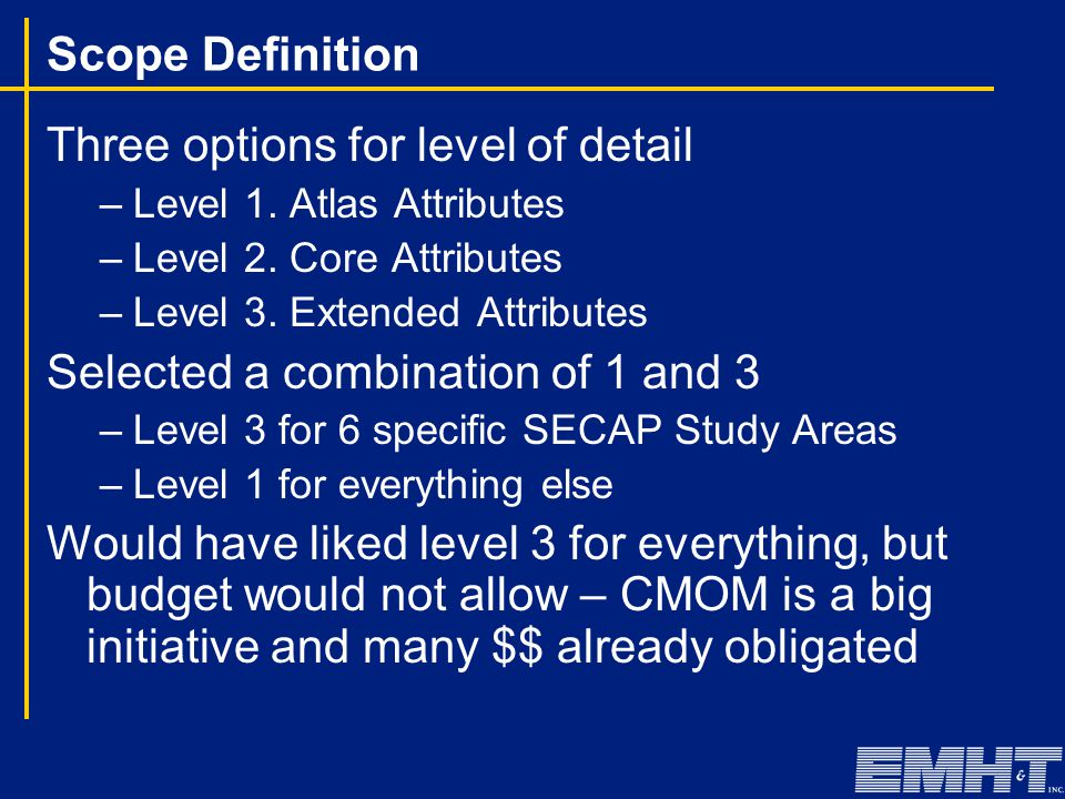 Scope Definition Three options for level of detail –Level 1. Atlas Attributes –Level 2. Core Attributes –Level 3. Extended Attributes Selected a combi
