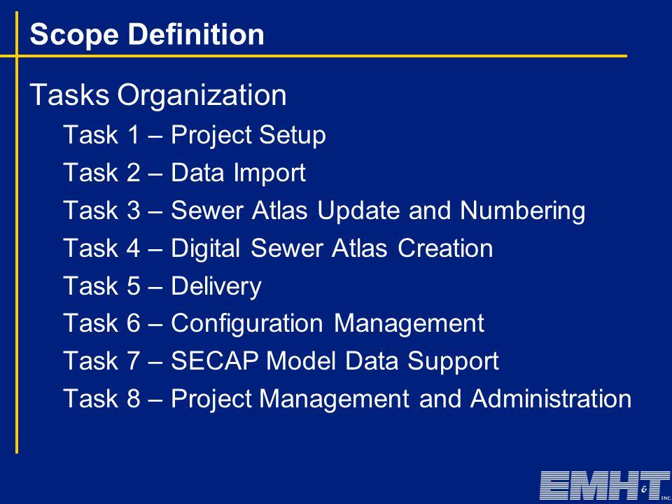 Scope Definition Tasks Organization Task 1 – Project Setup Task 2 – Data Import Task 3 – Sewer Atlas Update and Numbering Task 4 – Digital Sewer Atlas