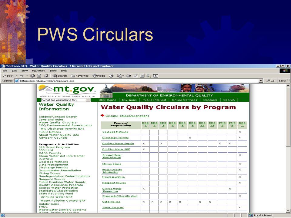 PWS Circulars