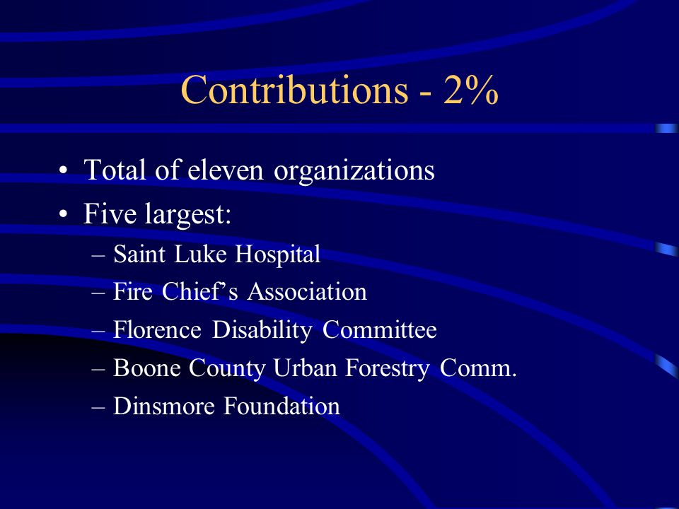 Contributions - 2% Total of eleven organizations Five largest: –Saint Luke Hospital –Fire Chief's Association –Florence Disability Committee –Boone County Urban Forestry Comm.