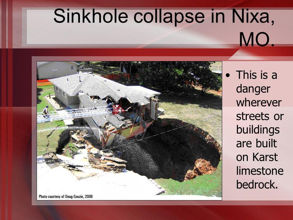 Sinkhole collapse in Nixa, MO.