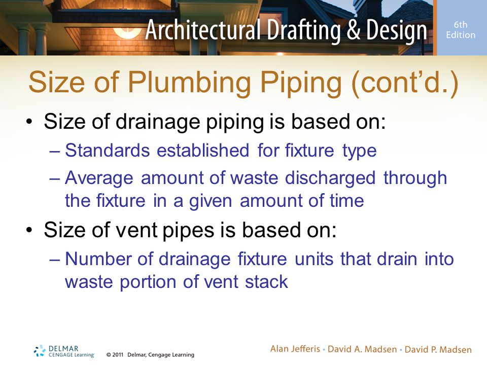 Size of Plumbing Piping (cont'd.) Size of drainage piping is based on: –Standards established for fixture type –Average amount of waste discharged thr
