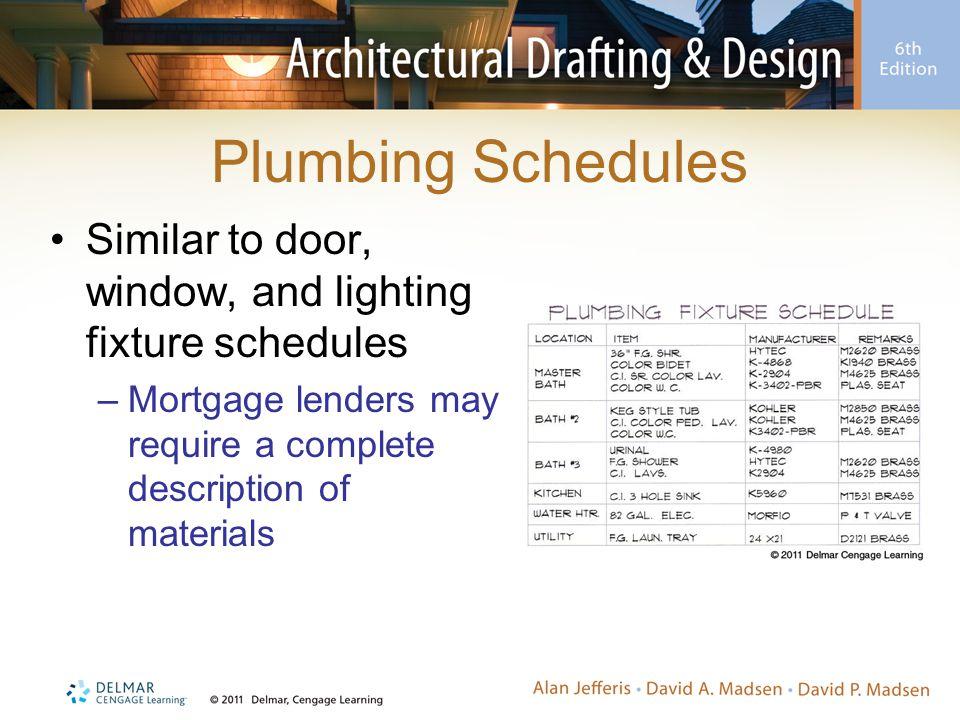 Plumbing Schedules Similar to door, window, and lighting fixture schedules –Mortgage lenders may require a complete description of materials